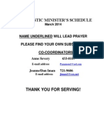 Eucharistic Ministers Schedule for March 2014