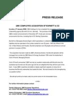 27 Jan 09.QBE Completes Acquisition of Burnett & Co