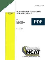 Performance Testing for Hot Mix Asphalt