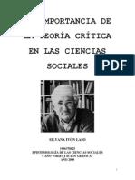 La Importancia de La Teoria Critica en Las Ciencias Sociales