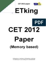 Cetking Maharashtra MHCET 2012 MBA CET Actual Paper PDF Verbal Section