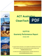 Australian CleanTech Performance Report -- Oct. 2009