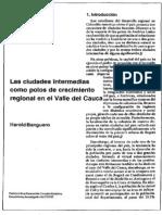 Las Ciudades Intermedias Como Polos de Crecimiento Regional en El Valle Del Cauca