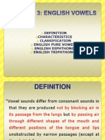 Phonology - Session 3 2-1112 English Vowels
