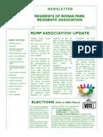 Residents of Rowan Park Newsletter, February 2014