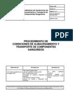 Procedimiento Condiciones de Almacenamiento y Transporte Componentes Sanguineos
