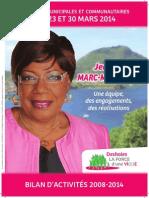 Bilan d'activités 2008 - 2014 - Jeanny MARC - MATHIASIN - Ville de Deshaies