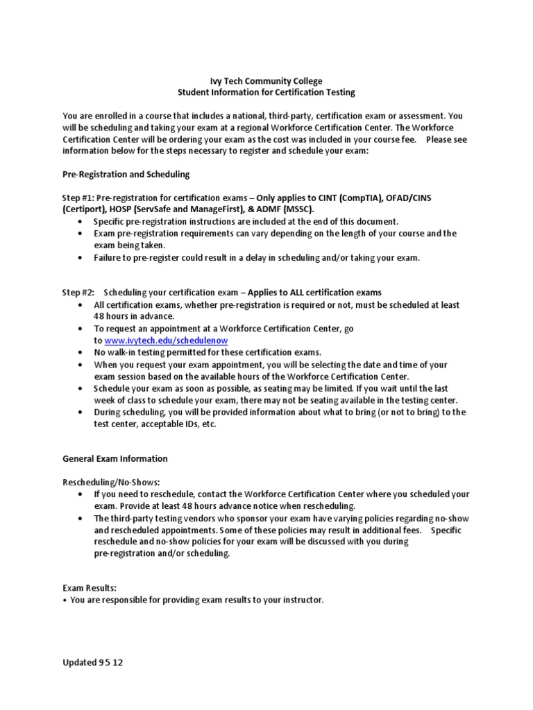 Student Information For Certification Testing Comp Tia Test