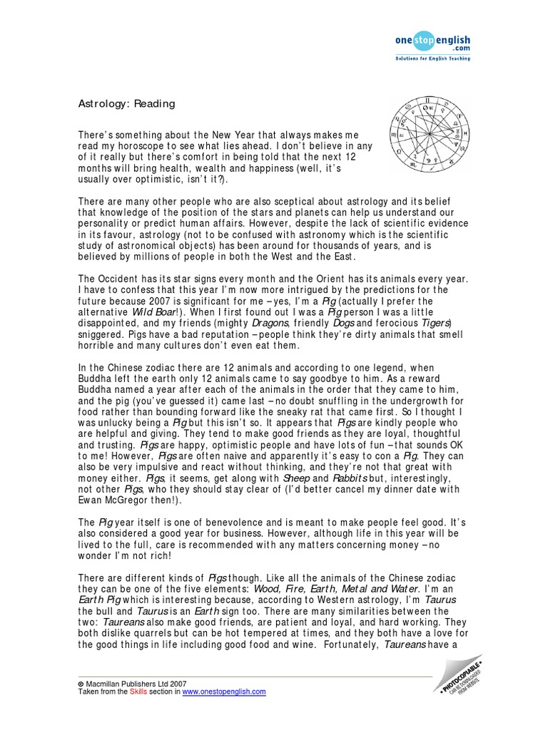 Reading Writing Lab Class_ Material Reading Chinese Zodiac Astrology