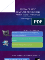 Review of Basic Computer Applications and Internet Principles