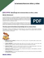 Metodología de la lectoescritura en niños y niñas