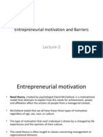 Entrepreneurial Motivation and Barriers