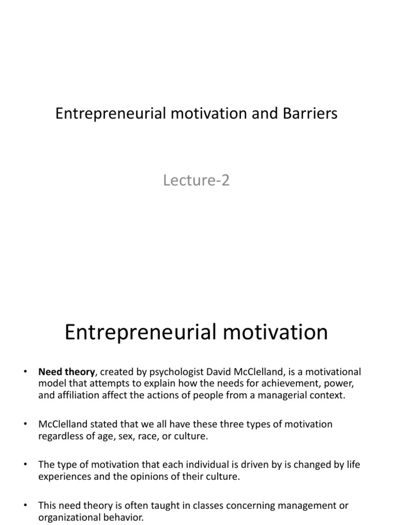 entrepreneurial motivation and barriers motivation