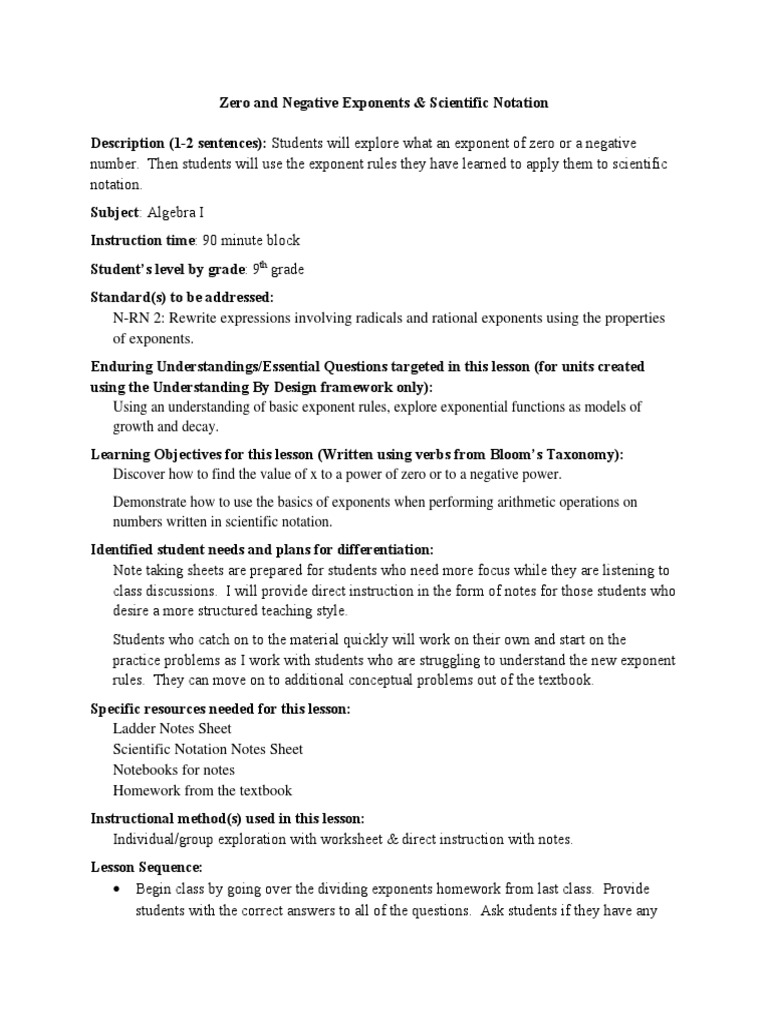 worksheet Zero And Negative Exponents Worksheet zeronegative exponent and scientific notation lesson plan exponentiation psychology cognitive science