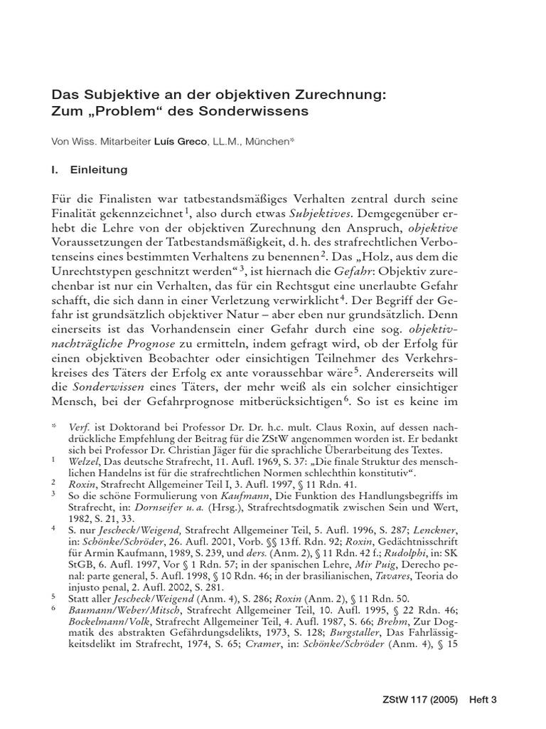 Das Subjektive an der objektiven Zurechnung: zum Problem des ...