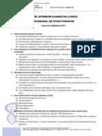 Model Intrebari FARMACIE Licenta 2012