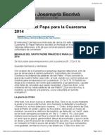 Mensaje Paapa Cuaresma 2014