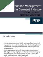 Maintenance Management in Garment Industry