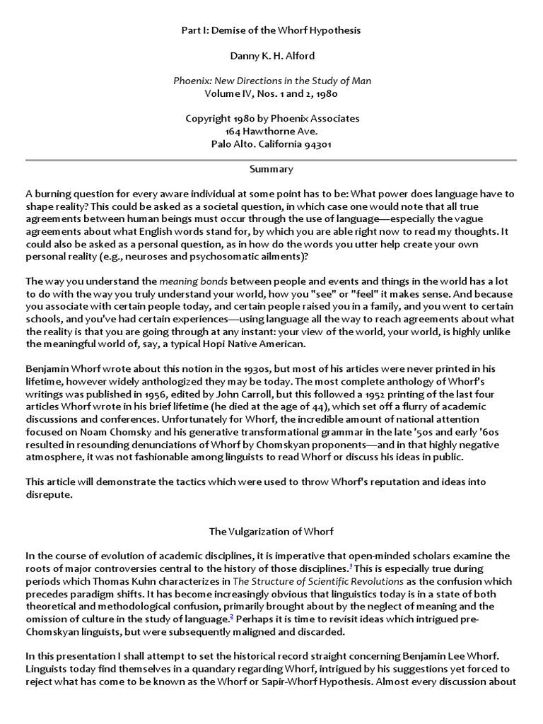 Sapir Whorf Journal Relativism Linguistics