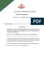 KSCSA - Model Question Paper