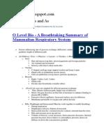 O Level Bio - A Breathtaking Summary of Mammalian Respiratory System