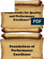 Frameworks for Quality and Performance Excellence