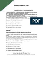 Exame de Ordem OAB Rondônia 43º Exame 1ª Fase