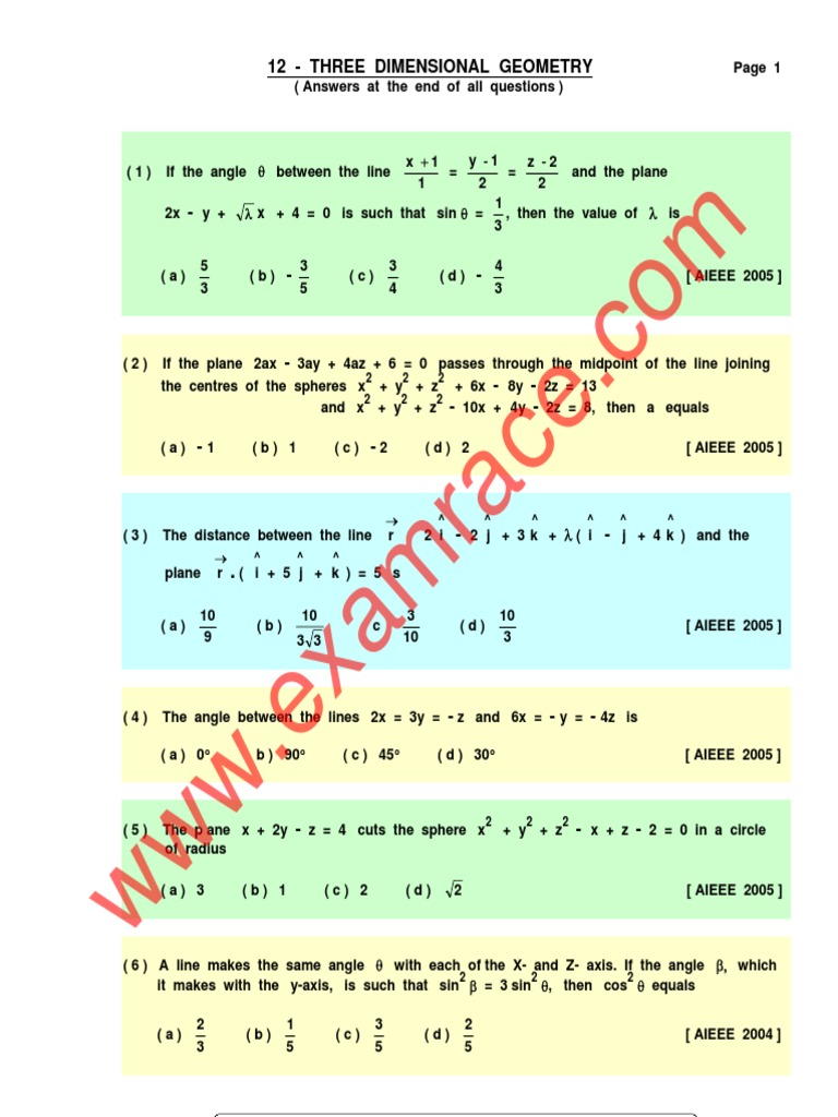 Mathematics 3D Geometry MCQ | Line (Geometry) | Sphere