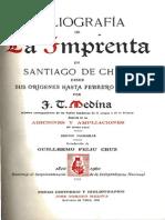 Bibliografía de la imprenta en Santiago de Chile desde sus orígenes hasta Febrero de 1817. (1961)