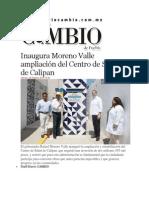 28-02-2014 Diario Matutino Cambio de Puebla - Inaugura Moreno Valle ampliación del Centro de Salud de Calipan.pdf