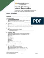 Info Need Checklist