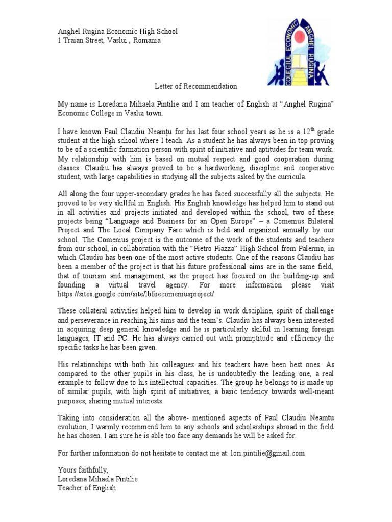 sample of letter of recommendation for teachers