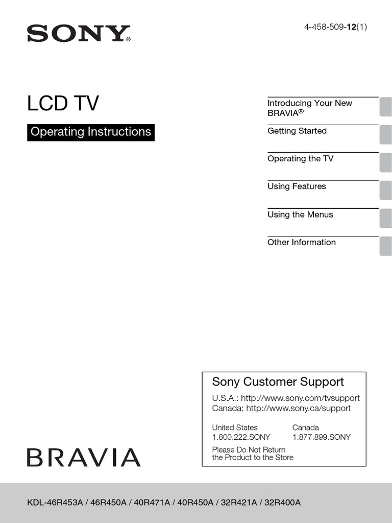 Sony Bravia Television Users Guide Owners Manual | Cable