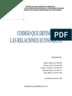 Código que definen las relaciones económicas