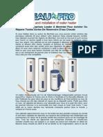 Installation Réservoir Eau Chaude – L'eau Pro