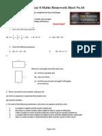 Year 8 Homework Sheet 16