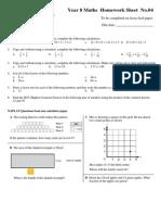 Year 8 Maths Homework Sheet No 4