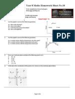 Year 8 Maths Homework Sheet No.18