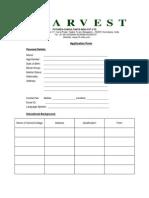 Harvest Application Form