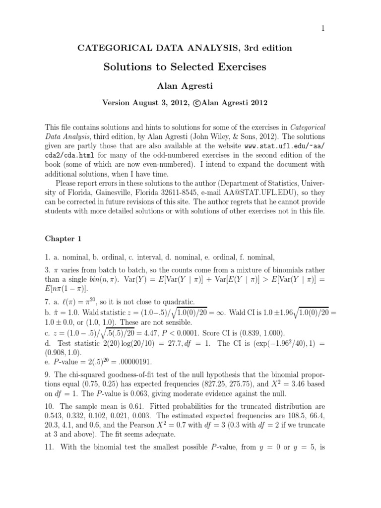 Categorical Data Analysis Selected Solutions By Agresti P Value Statistical Theory
