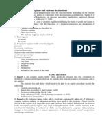 Topic 3. Customs Regimes and Customs Destinations