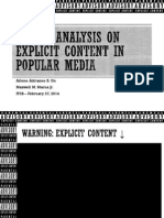 Morality on Explicit Content in Popular Media