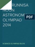 Viqarunnisa Noon Astronomy Olympiad 2014