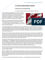 Restoring the purpose of the Canada Health TransferBy Gregory Marchildon and Haizhen MouAlberta the only province to benefit from the new funding formula