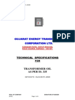 Technical specification of transformer oil