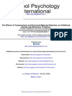 The Effects of Temperament and Perceived Maternal Rejection on Childhood