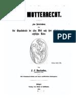 Bachofen, Johann - Das Mutterrecht (1861)