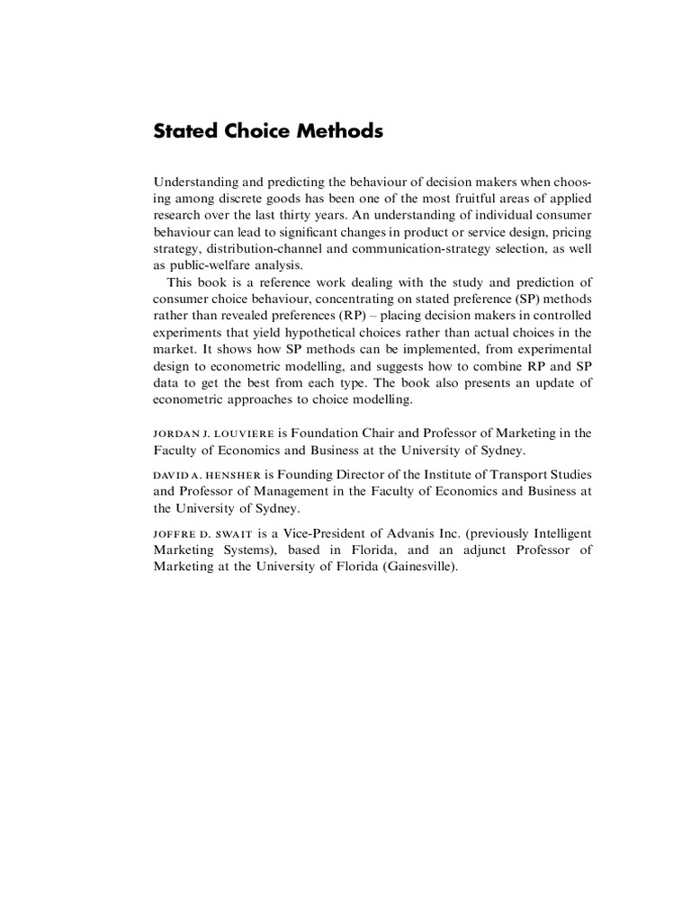 Stated choice methods analysis and applications utility stated choice methods analysis and applications utility economic model fandeluxe Gallery