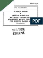 TM 9-1752 Auxiliary Generator (Homelite Model HRH-28) for Medium Tanks M3 1942