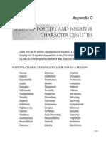Appendix C List of Character Traits